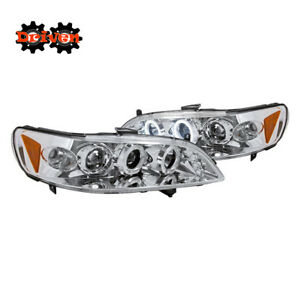 For Honda Accord 98-01 2/4 4cly V6 Chrome Projector Halo LED Headlights Inspire