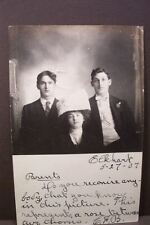 ANTIQUE OLD POSTCARD FAMILY PHOTOGRAPH LIMA INDIANA boys girl big hat