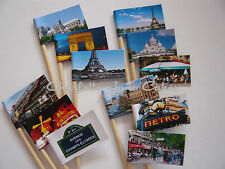 12 CUPCAKE TOPPER / FLAGS - PARIS FRANCE