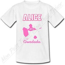 T-shirt Enfant Guadeloupe Rose avec Prénom Personnalisé