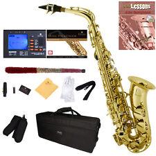 Mendini Gold Lacquered Eb Alto Saxophone Sax +Tuner+CareKit+Case+Book ~MAS-L
