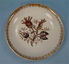 Antique Transferware Saucer Brown Floral Transfer Flowers Red & Yellow Paint (O)