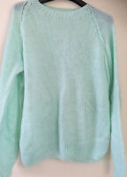 """VINTAGE INSPIRED PASTEL GREEN HAND KNITTED CREW NECK GRANNY JUMPER 46""""Chest"""