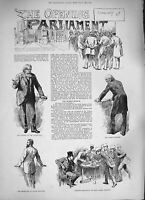 Old Antique Print 1884 Parliament Prime Minister Lord Salisbury Bradlaugh 19th