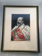 Fine Silk Portrait of HM King Edward VII by W & D Downey - Framed & Perfect Cond