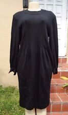 VINTAGE GUY LAROCHE BLACK WOOL LONG SLEEVE GOLD BUTTON BACK DRESS Sz 12