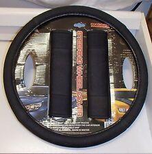 """15"""" Steering Wheel Cover Comfortable Padded Black Grip Seat Belt Pad Set"""