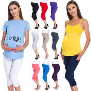 Pregnancy Cropped Leggings Very Comfortable 3/4 Maternity Pants Size 8-22 PREG34