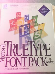 Vintage Microsoft True Type Font Pack For Windows - NEW And Sealed/ 1992