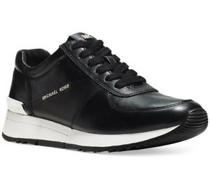 NIB Size 9 MK MICHAEL KORS Allie Trainer Logo Leather Sneaker Black