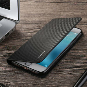 Magnetic Carbon Leather Flip Wallet Case Cover for iPhone 13 11 12 SE 7 8 6S XR