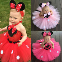 Minnie Mouse Baby Toddler Kids Girls Halter Princess Birthday Party Tutu Dress