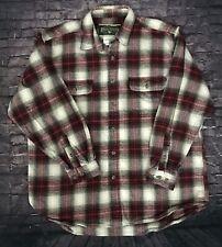 Vintage Field & Stream Mens XL Heavy Red Plaid Flannel Long Sleeve Cotton Shirt
