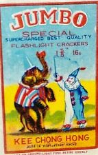 Vintage Jumbo Special Collectible Fireworks Label by Kee Chong Hong