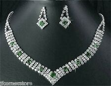 BRIDAL/WEDDING  Crystal/Diamonte Necklace Set **184** Emerals Green & Clear
