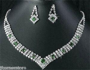 BRIDAL/WEDDING  Crystal/Diamonte Necklace Set **184** Emerals Green & Clear