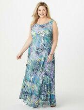 Jones Studio Tiered Blue Yellow Floral Boho Maxi Dress NWT