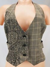 Fang Women's Waistcoat Vest Brown Plaid Studded Size S Steampunk