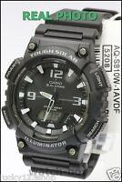 AQ-S810W-1A Black Casio Men's Watch Tough Solar 5 Alarms Analog Digital Resin
