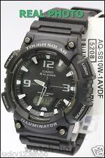 AQ-S810W-1A Black Casio Men's Watch Tough Solar 5 Alarms Analog Digital Resin