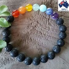 LAVA STONE Chakra Bracelet 100% All Natural Gemstone Crystal Beads Oil Diffuser