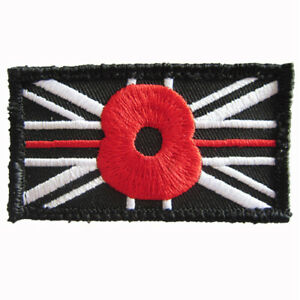 Black Union Jack thin RED line Flower Embroidered Sew on Official VELCRO® patch