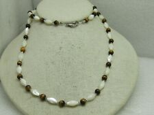 "Mother-of-Pearl Tiger's Eye Necklace, 30"", 1980's-1990's"