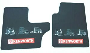 Kenworth OEM Black Rubber Floor Mats W/Logo for T300/600/800 W900 C500 2008 & UP