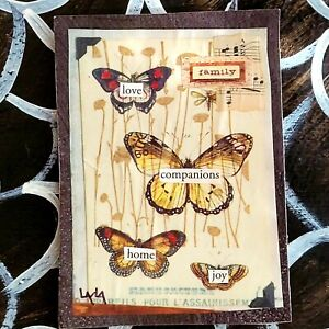 ORIGINAL ACEO Folk Art Butterfly Family Love Home Joy Wing Bug Insect Companion