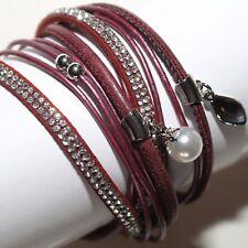 Armband Damen Kunstleder Magnetarmband Armschmuck Wickelarmband Blau 4