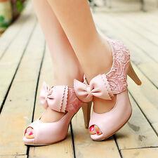 Women's Sandals Stilettos Wedding Bowknot Open Toe Lace Shoes Pumps Pink US 8