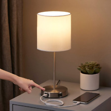 Touch Control Table Lamp with 2 USB Charging Ports, Seealle 3 Way White 1
