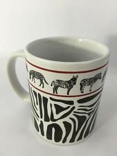 "Zebra Stripe Coffee Mug Jungle Animals Cup Black and White Striped 3.75"" Tall"