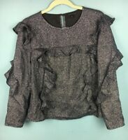 Topshop Silver Black Sparkly Glitter Frill Ruffle Long Sleeve Top 12 - B58