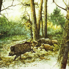 4x Single Table Party Paper Napkins for Decoupage Wild Boars in the Woods