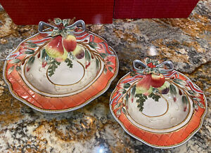 NEW Fitz & Floyd ENCHANTED HOLIDAY 2 SERVING BOWL SET Christmas Fruit Boxes