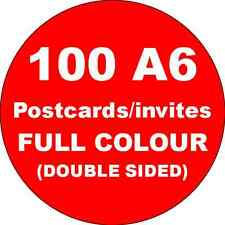 100 A6 Double Sided Full Colour Cards Printed on 350gsm Card