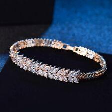 Promising Women Gold Tone Bling Charm White Rhinestone Crystal Chain Bracelet