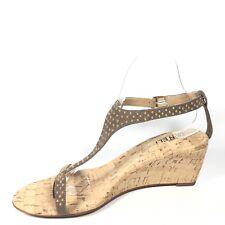 Vaneli Maryam Womens Size 8 M Truffle Suede Wedge T-stap Sandals.