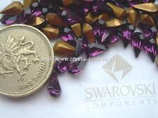 12 x Swarovski 8.0mm x 4.8mm Amethyst gold-foiled #4300/2