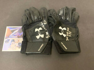 Robert Puason Oakland A's Signed 2021 Game Used Batting Gloves Black