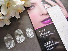 Nail Art Self Adhesive Full Nail Polish Rhinestone White Lace Wrap Sticker TZ077