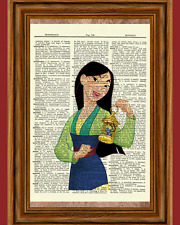 Mulan Dictionary Art Print Poster Picture Vintage Book Disney Princess Nursery