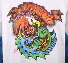 NOS vintage 80s PHOENIX KOI FISH TATTOO T-Shirt LARGE japanese cartoon bird thin