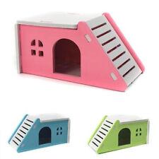Pet Hamster House Bed Cage Nest Hedgehog Guinea Pig Wooden Castle Toy
