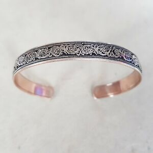 Handmade Pure Copper & Silver Cuff/Bangle/Bracelet *Hand-cut Floral Art*(Unisex)