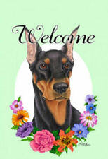 Welcome Flowers House Flag - Black and Tan Doberman Pinscher 63015