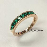 Princess Cut Emerald Engagement Ring Wedding Band 14K Rose Gold Half Eternity