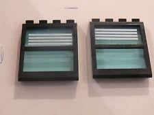 Lego 2 fenetres noires de toit  set 6598 / 2 black windows w/ stripes stickers