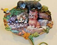 HUGS 'N KITTENS BLOOMING CURIOSITY PLATE 3D CAT KITTEN MIB  JURGEN SCHOLZ